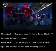 TFP Optimus and Wheeljack Motivational Poster by MetroXLR99