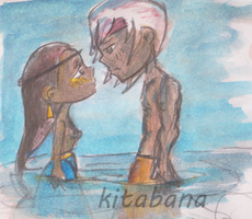 Ancestral story concept_characters (almost) kiss by Kitabana