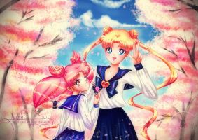 Usagi and Chibiusa by Axsens