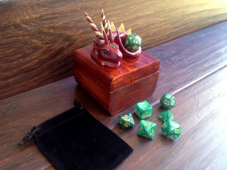 Red and Gold Dragon Dice Holder Box Set by KaijuClayCreations