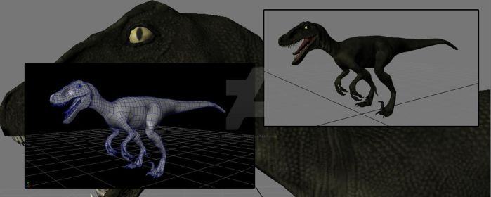 WIP Raptor Low poly mesh by Henrique3DArt