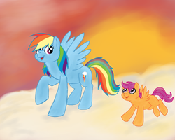 Rainbow and Scoots by Lara60