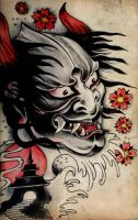 Japanese Demon_Tattoo design by blacksilence92