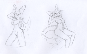 Umbreon and Vaporeon Anthros by oldanthropokemon