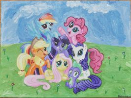 Acrylic Painting: MLP Group Portrait by Belluxenberg