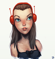 Girl with a red earphones by 13tangerines