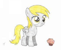 Filly Derpy find a muffin by mzx-90