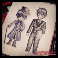 Ciel and Sebastian chibi drawing by stateofgrace01