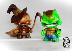 Killer Croc and Scarecrow by FullerDesigns