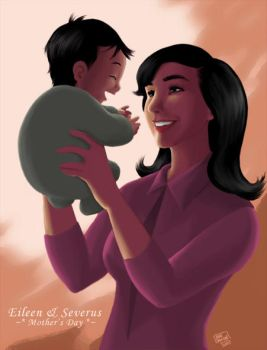 Eileen Prince and baby Severus by manzanachan