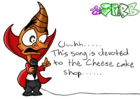 Ripto and his cheesecake 8D by Spyroflamesredsbum