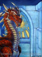 Red Dragon of the Sun  Original Art for Sale! by lady-cybercat