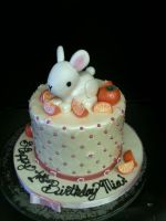 Ivory Cushioned Tangerine and Bunny Cake by Spudnuts