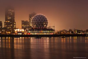 Foggy shroud over Science World by Bartonbo