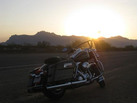 Arizona Sunrise with bike 072614 06 by acurmudgeon