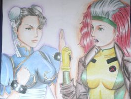 Chun Li VS Rogue by cecylicious