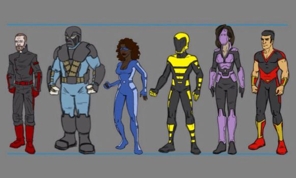 Final character designs in lineup by Tim4