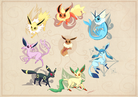 Eeveelutions Circle by SketchprinterDemon