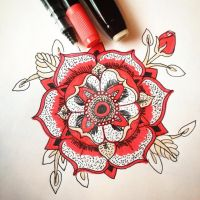 Red and Black Mandala by TkWolver