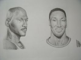 M. Jordan and S. Pippen by PatrickRyant