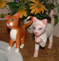 2 Sculpted Kitty Cats 1A by Soniafm1027
