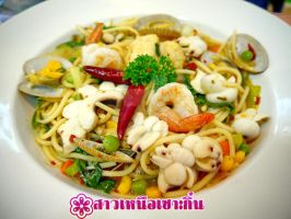 Thai Spicy Seafood Spaghetti by anemoneploy