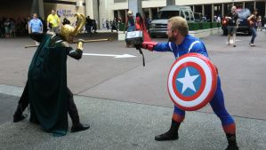 Captain America vs Loki Cosplay Dragoncon by KwongBee-Arts