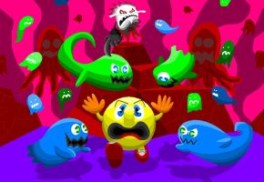 Pac-Man Ventures into the Netherworld by AshumBesher