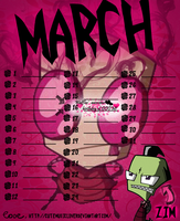INVADER ZIM CALENDAR - March - Zim by CuteMusicLover