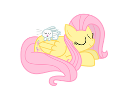 AT: Angel and Fluttershy napping by WillowTails