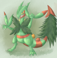 Uro the Mega Sceptile [Art Trade] by fuwante-chan