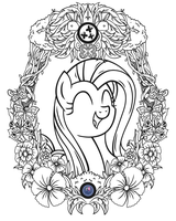 Fluttershy Vintage Profile (Line Art) by Template93