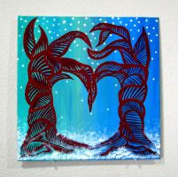 Two Abstract Trees Form Heart: Winter by Eccentric-Indigo