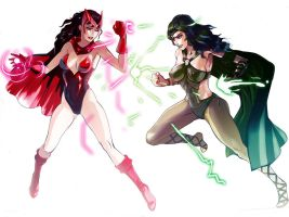 Polaris vs Scarlet Witch by MikazukiShigure