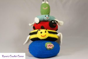 Pond Friends Crochet Stacking Ring Toy with Noise by karenscrochetcorner