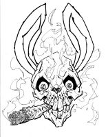 Smoking bunny skull by ckirkillustr8