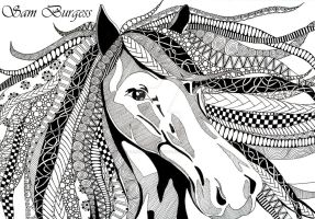 Horse Zentangle by x-hamster-x