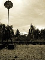 Train tracks in sepia by danny-valentine