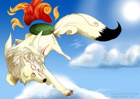 Okami - jumping clouds by Henva