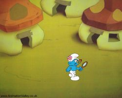 Hanna Barbera Smurfs Production cel by AnimationValley