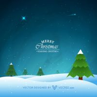 Night Scene Of Winter Christmas Free Vector by vecree