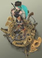 Clockwork Hearts Hatsune Miku by kumagzter
