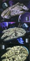 Star Wars Millennium Falcon Sketch Cards by SteveStanleyArt