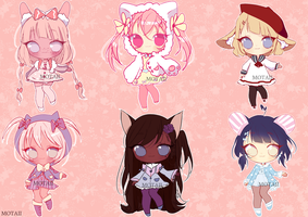 5$ Closed ADOPTABLES CHEAP KEMINOMIMI 0/6 left! by Motaii