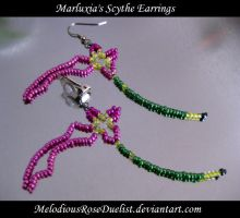 Marluxia's Scythe Earrings by MelodiousRoseDuelist
