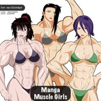Manga Muscle Girl Trio 1 by elee0228