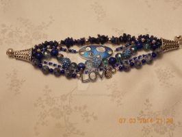 Multi-strand blue and silver bracelet by Quested-Creations