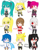 Vocaloid chibis by 5penguins