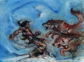 Conan vs The Wolves, Oil on Canvas by JeffLafferty