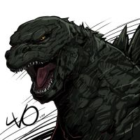Digital Sketch Warm up 27 - Godzilla by Vostalgic